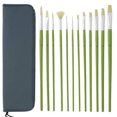 US Art Supply 12-Piece Assorted Artist Brush Set For Acrylic & Oil Painting