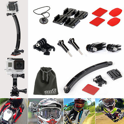 EEEKit for GoPro Hero 5 4 Black Session 3+ Arm Curved Flat Adhesive Helmet Mount