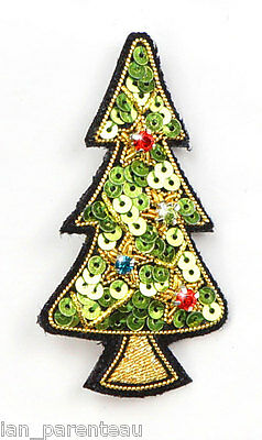Green Hand Embroidered Christmas Tree Brooch Pin