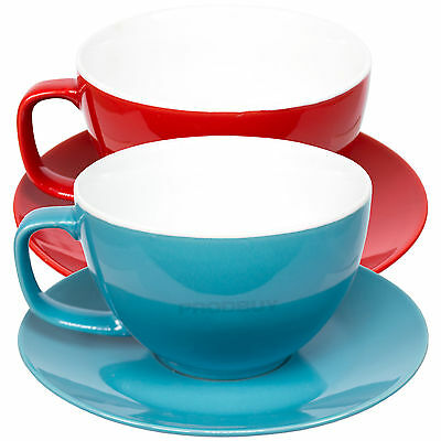 Set of 2 Large 15oz Cappuccino Cups & Saucers Bright Tea Coffee Machine Mugs