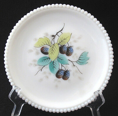 Mid Century Westmoreland Milk Glass Beaded Edge Fruit Plate Blackberry
