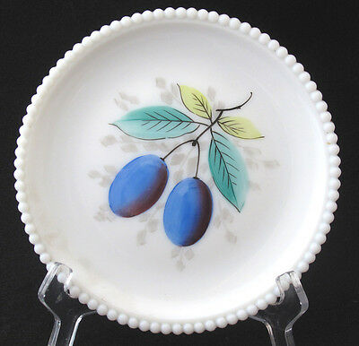 Mid Century Westmoreland Milk Glass Beaded Edge Hand Painted Fruit Plate Plum