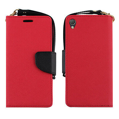 Sony Xperia Z3 Dual Red Black Card Wallet Leather Pouch Flip Case Cover Protect