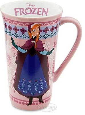 Disney Store FROZEN Princess Anna Pink Tall Coffee Cup Mug with Snowflakes NEW