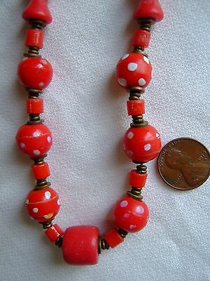 VINTAGE VENETIAN GLASS, RED SKUNK CHOKER TRADE BEAD NECKLACE~