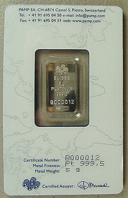 ~ Pamp Suisse 5 Gram .9995 Platinum Bullion Bar ~