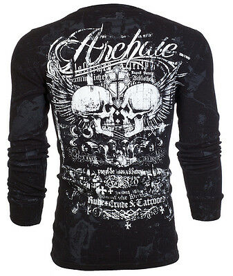 Archaic AFFLICTION Mens THERMAL T-Shirt CRUDE STYLE SkullsTattoo Biker UFC $58