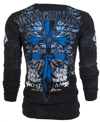 ARCHAIC by AFFLICTION Mens LONG SLEEVE THERMAL Shirt LOYALTY Cross Wings UFC $58