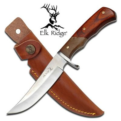 "NEW! Elk Ridge 9.5"" Full Tang Wood Fixed Blade Hunting Skinning Knife w/ Sheath"