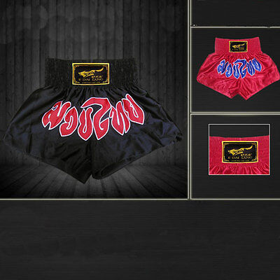 New Muay Thai Boxing Trunks Combat MMA UFC Boxer Shorts Red/Black Free Shipping
