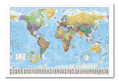 World Map Poster With Country Flags White Framed Ready To Hang Frame Free P&P