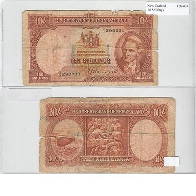 10 Shillings Banknote from New Zealand in Fine Condition.