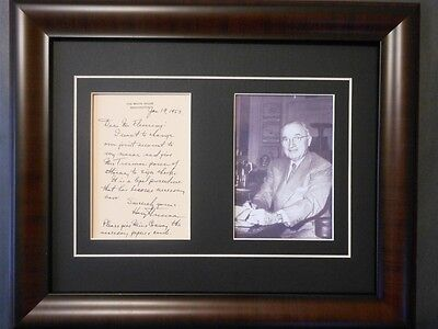 President Harry Truman Signed 1953 Letter Framed