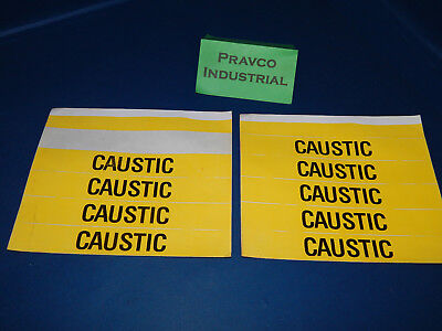 "Lot of 9 Caustic Black on Yellow pipe marker labels 8""x1-1/8"""