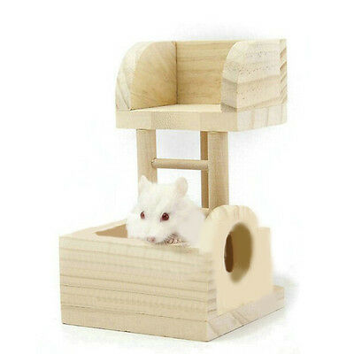 Wooden Lookout Tower Platform Station Exercise Toy for Pet Rat Hamster Mouse Fun