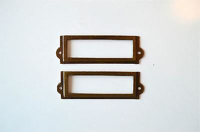 Pair Antiqued Brass File Cabinet Label Holder Name Holder Plan Chest Drawer Lh1