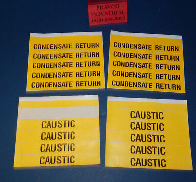 Lot of Yellow Plumbing Labels For Pipes/Piping CAUSTIC and CONDENSATE RETURN
