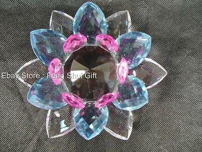 "6""D Large Multicolor Crystal Clear Chinese Lotus Flower Healing Harmony Rainbow"