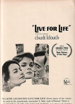 Yves Montand Candice Bergen Annie Girardot 1968 Ad- Live For Life/Grand Prix