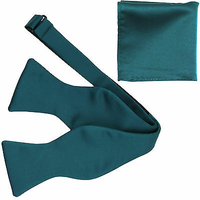 New Men's Polyester Solid Formal Self-tied Bow Tie & hankie set sapphire blue