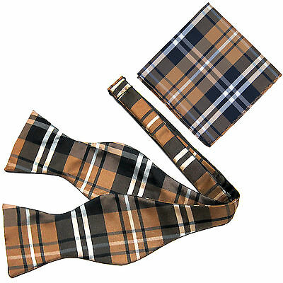 New Men's Polyester plaid checkers self-tied  Bow Tie & hankie set brown navy