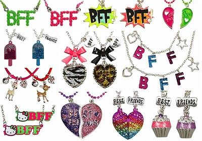 NWT Justice Girls Best Friends BFF 2 & 3pc Necklace Sets Heart Jewel Glitter NEW