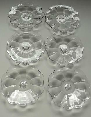 LOT OF 6 SMALL ART DECO COLONIAL HEISEY GLASS ROSETTES PLATES