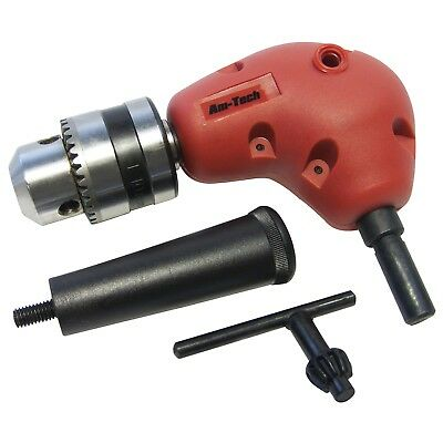 "3/8"" Right Angle Drill Attachment 90 Degree Keyless Handle Adaptor Corner Chuck"