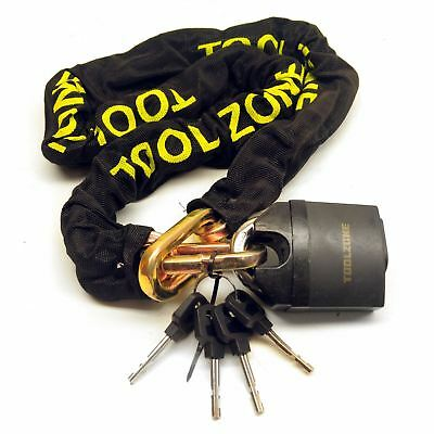 Motorcycle Bike Motorbike Security Chain Disc Lock Heavy Duty Padlock 1.1m TE1