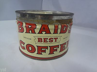 VINTAGE BRAID'S BRAND COFFEE TIN ADVERTISING COLLECTIBLE GRAPHICS    G-821