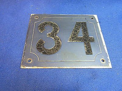Mid Century Chrome with Black Numbers House Sign No. 34 #L