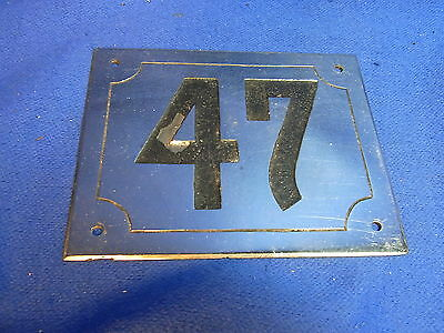 Mid Century Chrome with Black Numbers House Sign No. 47 #L