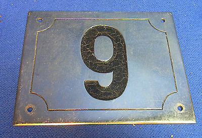 Mid Century Chrome with Black Numbers House Sign No. 9 #L