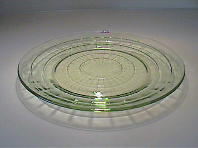 "VINTAGE 1920'S GREEN BLOCK OPTIC 9"" DINNER PLATE - DEPRESSION GLASS"