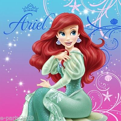 ARIEL THE LITTLE MERMAID SPARKLE LUNCH NAPKINS (16) ~ Birthday Party Supplies