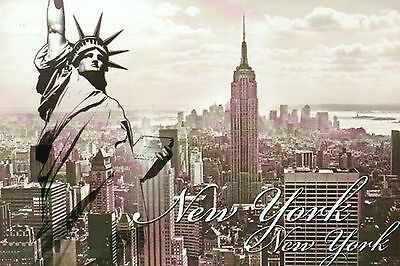 Statue of Liberty, Manhattan, Empire State Building, New York City NY - Postcard