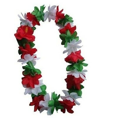SIX Hawaiian Silk Flower Lei Luau Party Hula Wedding GREEN/RED/WHITE QTY 6 LEIS