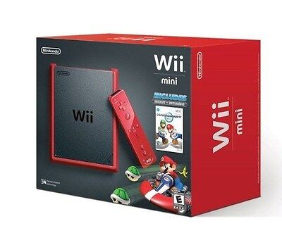 Nintendo Wii MINI Console Red & Black With Mario Kart (System Gaming Remote) NEW