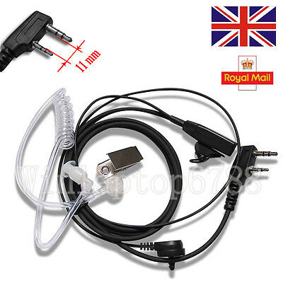 2 Pin Covert Security Earpiece Headset Fr Motorola Kenwood TK/TM/TH/TS Series UK