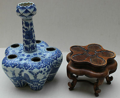 Blue and White Tulip Vase and Stand 'Auspicious Objects'