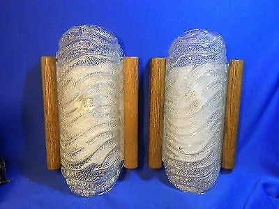 Pair Murano Glass & Wood Wall Lamps Sconces Attributed to Barovier & Toso #<