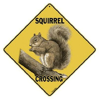 "Squirrel Metal Crossing Sign 16 1/2"" x 16 1/2"" Diamond shape Made in USA #315"