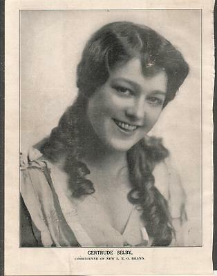 silent film actress Gertrude Selby 1914 Ad- comedienne of new L-KO brand