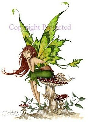 Amy Brown Print Fairy Thinking of You Faery Green Wings Snail Mushroom Toadstool