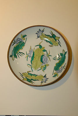 CHINESE HAND PAINTED PORCELAIN BOWL ENAMEL BRASS BACK VINTAGE CANDY NUTS TRAY