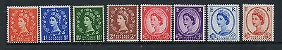 GB 1958 graphite lines SG587-593 lightly mounted mint set 8 stamps