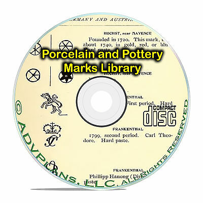 Vintage Pottery and Porcelain Marks Library, European Guides, 89 books DVD B60
