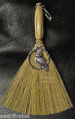 BESOM BROOM & WISE OWL CHARM 170 mm Wicca Pagan Witch Goth WITCHES' ALTAR BROOM