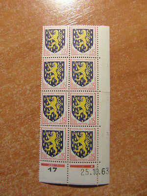 8 Timbres France Coin Date / Yt 1354 Nevers  25 10 1963