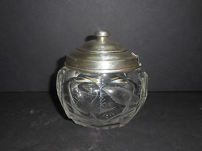 CUT ETCHED MUSTARD JAR WITH STERLING TOP                              rdd2-133